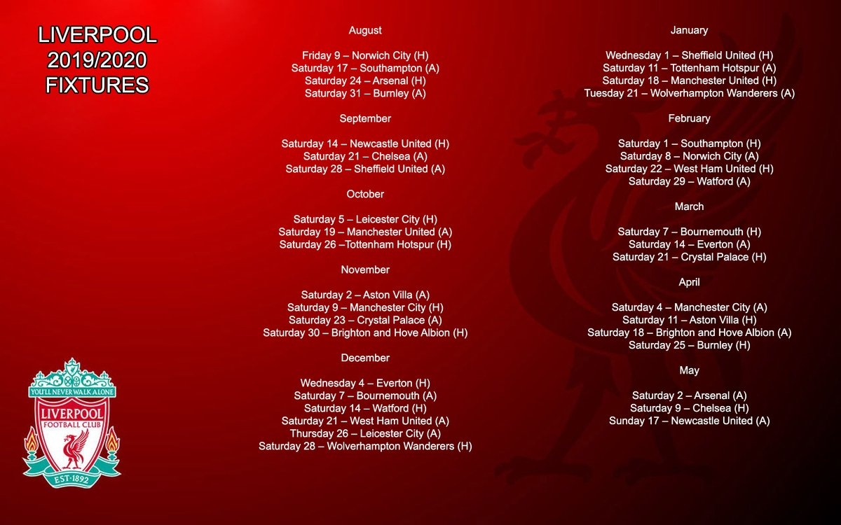 Lịch thi đấu Liverpool mùa 2019-20. Lịch thi đấu bóng đá Ngoại hạng Anh của Liverpool. Kết quả bóng đá Liverpool. Bảng xếp hạng Ngoại hạng Anh. Link xem trực tiếp Liverpool.