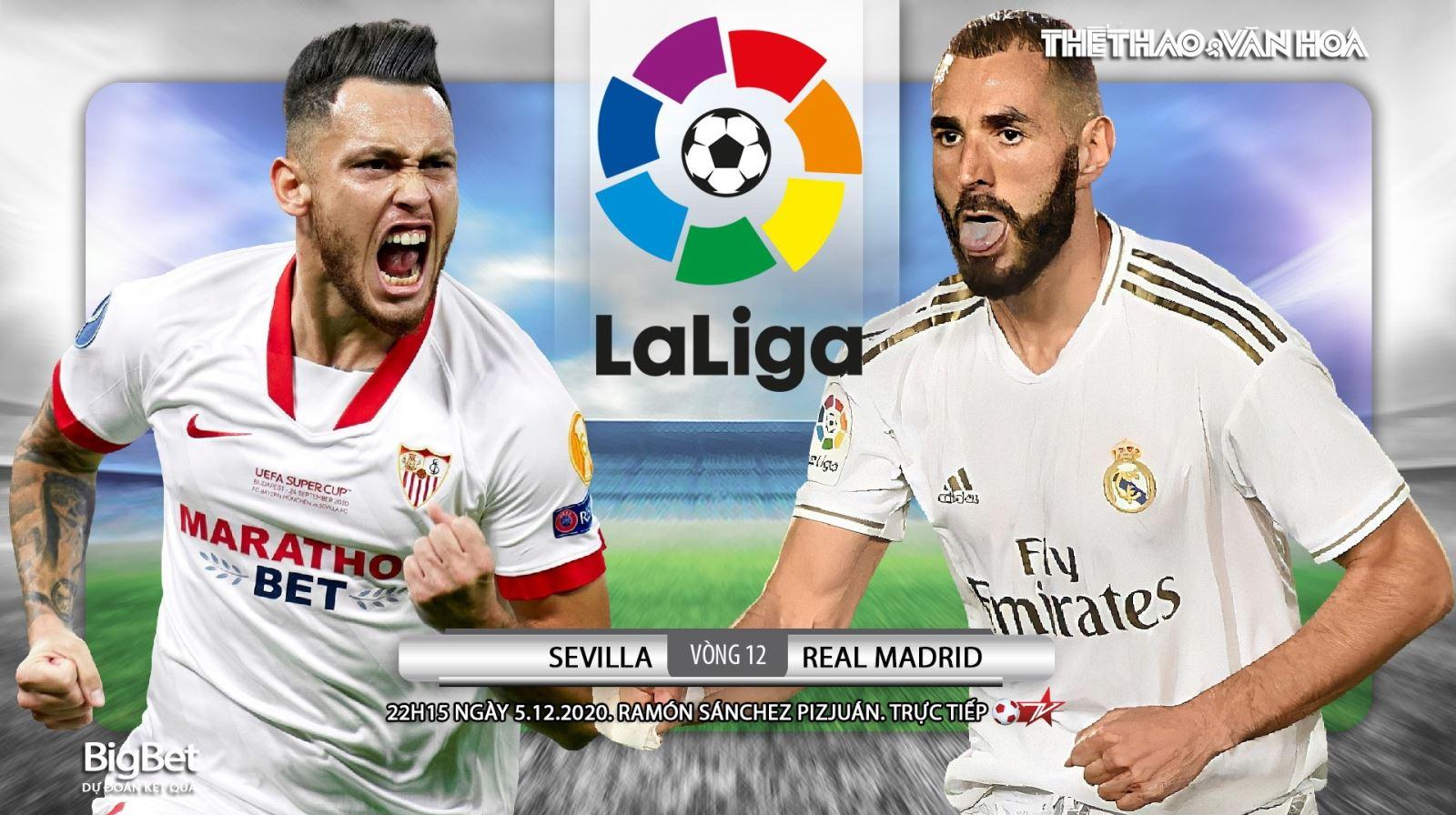Truc tiep bong da. Sevilla vs Real Madrid. BĐTV trực tiếp Vòng 12 La Liga. Real