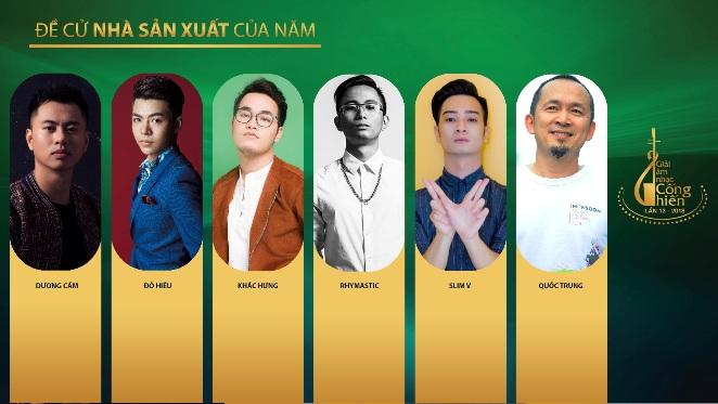 Đề cử Nhà sản xuất của năm, Giải Âm nhạc Cống hiến lần 13-2018: 1 lão làng 'đua' với 5 nhà sản xuất trẻ