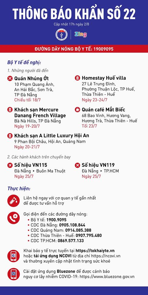 Thông báo khẩn số 22 của Bộ Y tế