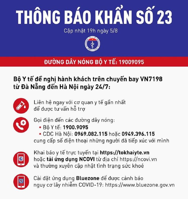 Thông báo khẩn số 23 của Bộ Y tế