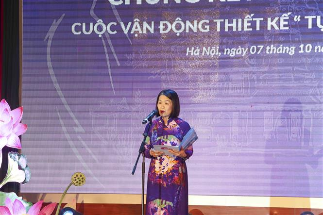 Đồng chí Bùi Thị Hòa, Phó Chủ tịch Hội Liên hiệp Phụ nữ Việt Nam, Trưởng Ban tổ chức chương trình phát biểu khai mạc. Ảnh: Tuấn Đức – TTXVN