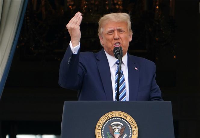 Tổng thống Mỹ Donald Trump trong bài phát biểu tại Washington, DC ngày 10/10/2020. Ảnh: AFP/TTXVN