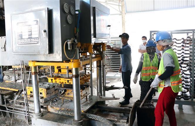 Doanh nghiệp sản xuất vật liệu xây dựng không nung Mỹ Viên đầu tư phát triển mạnh tại huyện Thuận Nam. Ảnh: Công Thử - TTXVN