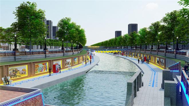 Phối cảnh một đoạn sông Tô Lịch sau khi được cải tạo do Công ty JVE cung cấp
