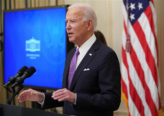 Trong ảnh: Tổng thống Mỹ Joe Biden phát biểu tại Nhà Trắng ngày 21/1/2021. Ảnh: AFP/ TTXVN