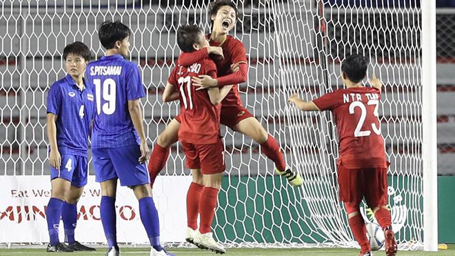 Bàn thắng như vàng của Hải Yến đã mang về những tin vui không ngớt cho các cô gái Việt Nam. Ảnh: Hoàng Linh
