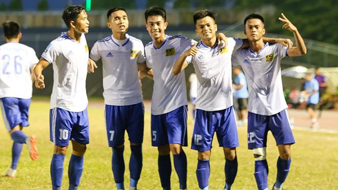 Đội bóng này đã chen chân vào TOP 6 sau chiến thắng trên sân Tự Do vòng 8. Ảnh: VPF