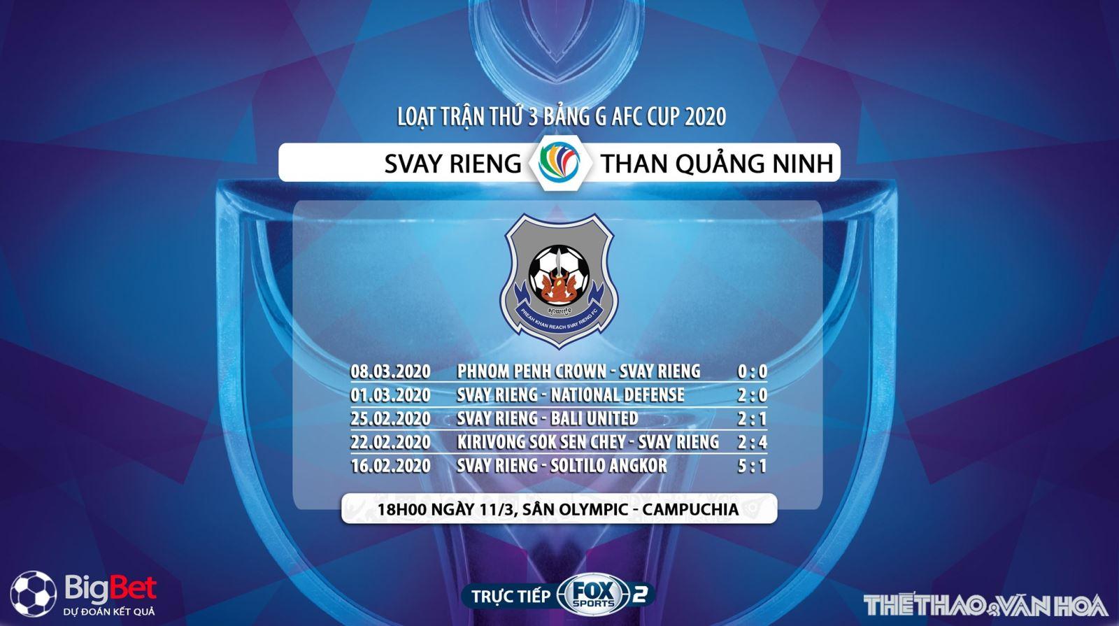 bóng đá, bong da, Svay Rieng vs Than Quảng Ninh, trực tiếp bóng đá, lịch thi đấu bóng đá, Than Quảng Ninh, Fox Sport, AFC Cup