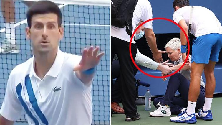 VIDEO clip Novak Djokovic hất bóng trúng mặt trọng tài dây ở US Open 2020