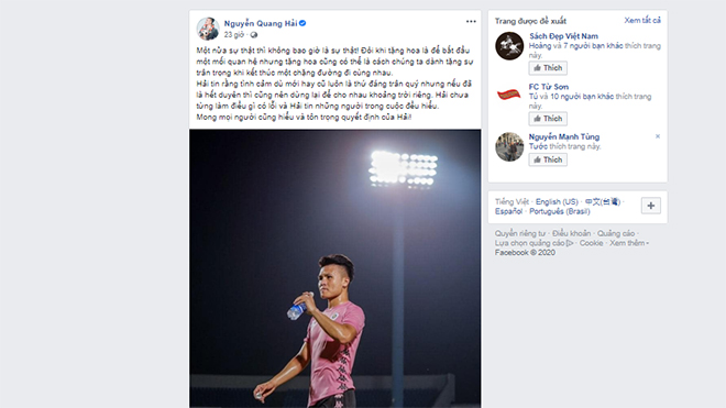 Quang Hải đáp trả chỉ trích vì chuyện tình cảm