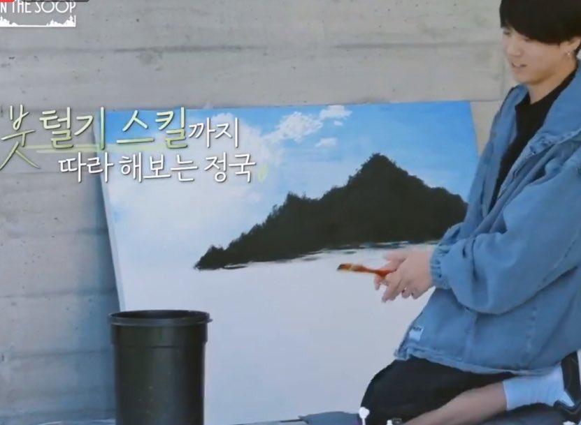 BTS, Jungkook, Khả năng hội họa của Jungkook, Phản ứng của BTS về Jungkook, In The SOOP, Jungkook vẽ tranh, năng khiếu của Jungkook, Jungkook vẽ cảnh thiên nhiên, Kpop