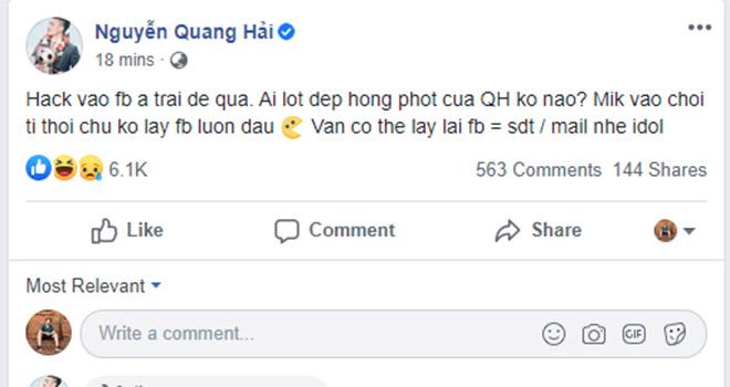 Facebook Quang Hải bị hack, FB Quang Hai, Facebook Quang Hải bất ngờ bị hack, Quang Hải, Nguyễn Quang Hải, Huỳnh Anh, Hà Nội, bóng đá Việt Nam, tin tuc bong da, bóng đá
