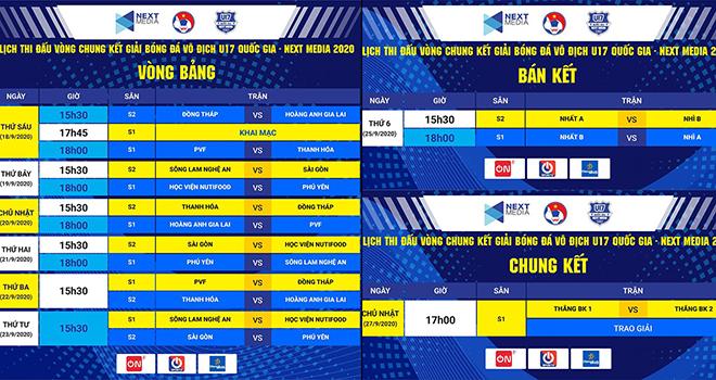 Lịch thi đấu VCK U17 quốc gia. Lịch thi đấu bóng đá, lịch thi đấu U17 quốc gia 2020, Next Media, VTC3, Next Sports, U17 quốc gia, truc tiep bong da, trực tiếp bóng đá
