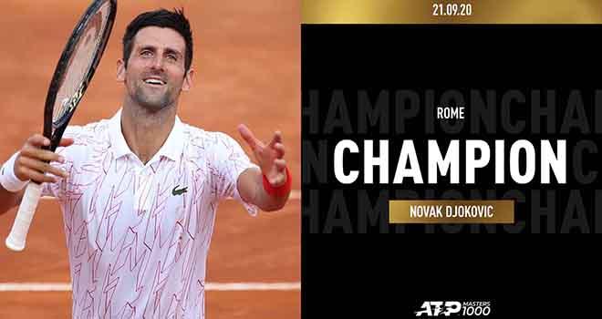 Ket qua Djokovic vs Schwartzman, Kết quả chung kết Roma Masters, Djokovic vô địch Roma Masters 2020, Ket qua tennis, Djokovic vs Schwartzman, Djokovic đấu với Schwartzman
