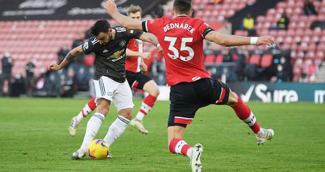 Bruno Fernandes, MU, Southampton vs MU, Biểu cảm Bruno Fernandes, Edinson Cavani, Kết quả Ngoại hạng Anh, Bảng xếp hạng Ngoại hạng Anh, Cavani gỡ hòa, BXH bóng đá Anh