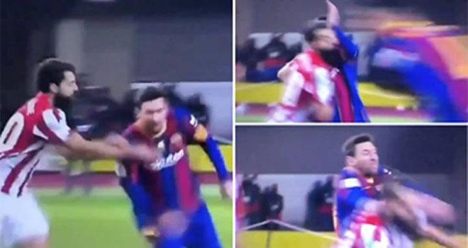 Messi nhận thẻ đỏ đầu tiên ở Barcelona. Messi bị treo giò. Messi bị cấm thi đấu. Barcelona vs Bilbao, Siêu cúp Tây Ban Nha, Messi đánh nguội, Lionel Messi, Barcelona