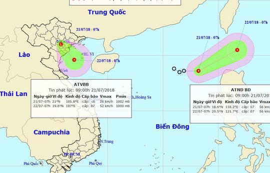 Áp thấp nhiệt đới chồng áp thấp nhiệt đới, vùng xoáy ngay trên Vịnh Bắc Bộ