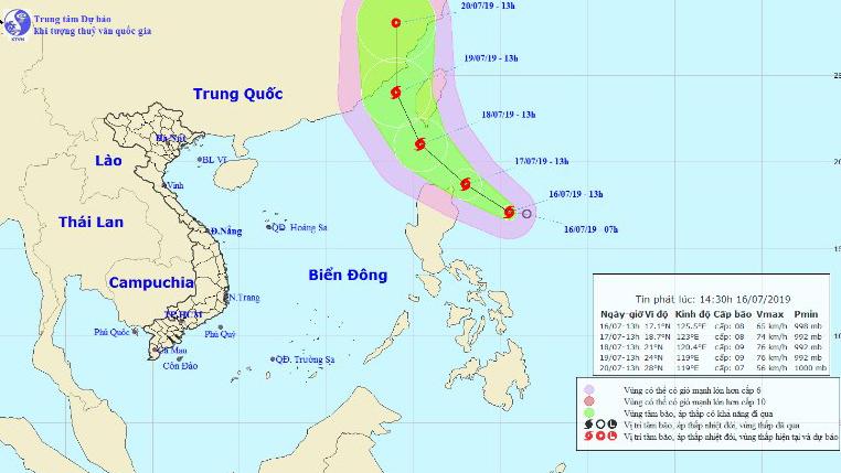 Tin bão gần biển Đông - Bão Danas