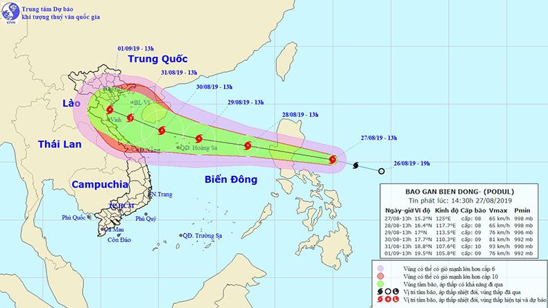 Tin bão khẩn cấp: Bão Podul di chuyển nhanh theo hướng Tây Tây Bắc, sáng 28/8 đi vào Biển Đông