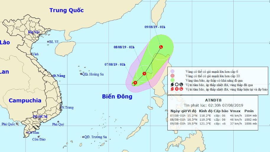 Dự báo thời tiết: Áp thấp nhiệt đới trên biển Đông