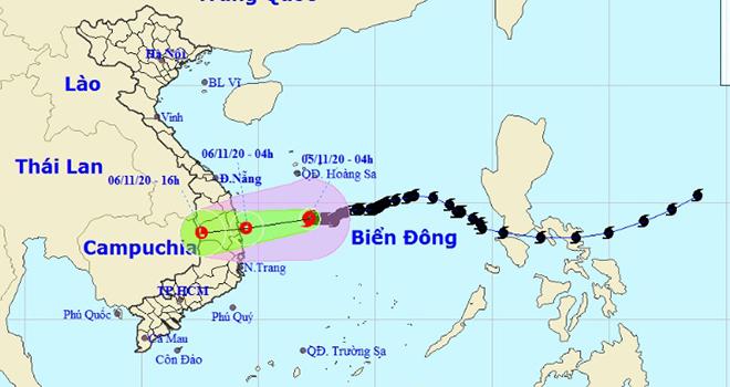 Bão số 10 sẽsuy yếu thành áp thấp nhiệt đới khi đổ bộQuảng Ngãi đến Khánh Hòa